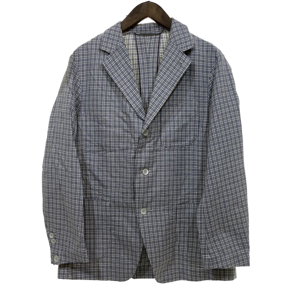 【中古】45R チェック テーラードジャケット ホワイト×ネイビー サイズ:4 【050720】(フォーティファイブ・アール)