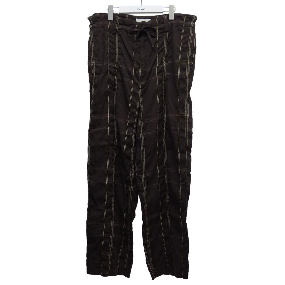 【中古】YOKE 19AW「BIG PLAID WIDE PAJAMA PANTS」チェックイージーパンツ ブラウン サイズ:M 【060720】(ヨーク)