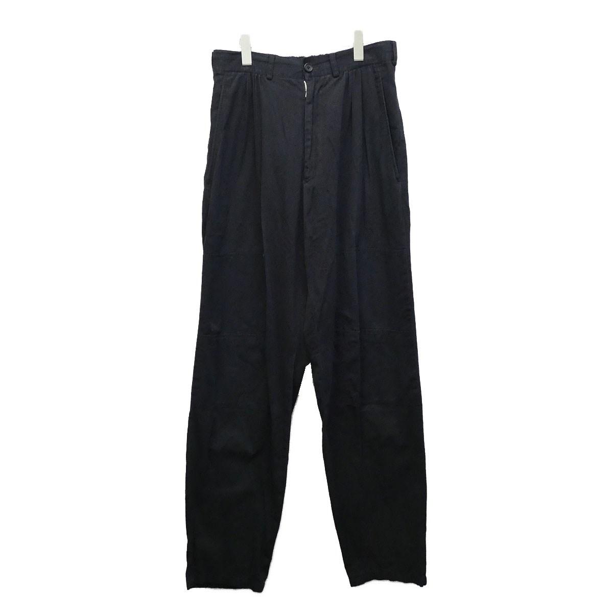 【中古】YOHJI YAMAMOTO pour homme 裾パッチワイドパンツ ネイビー サイズ:M 【070720】(ヨウジヤマモトプールオム)