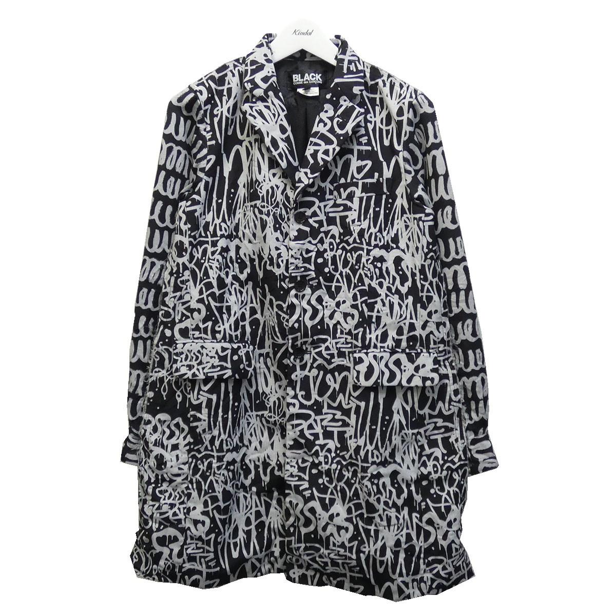 【中古】BLACK COMME des GARCONS 19AW 総柄プリントチェスターコート ブラック サイズ:S 【080720】(ブラック コムデギャルソン)