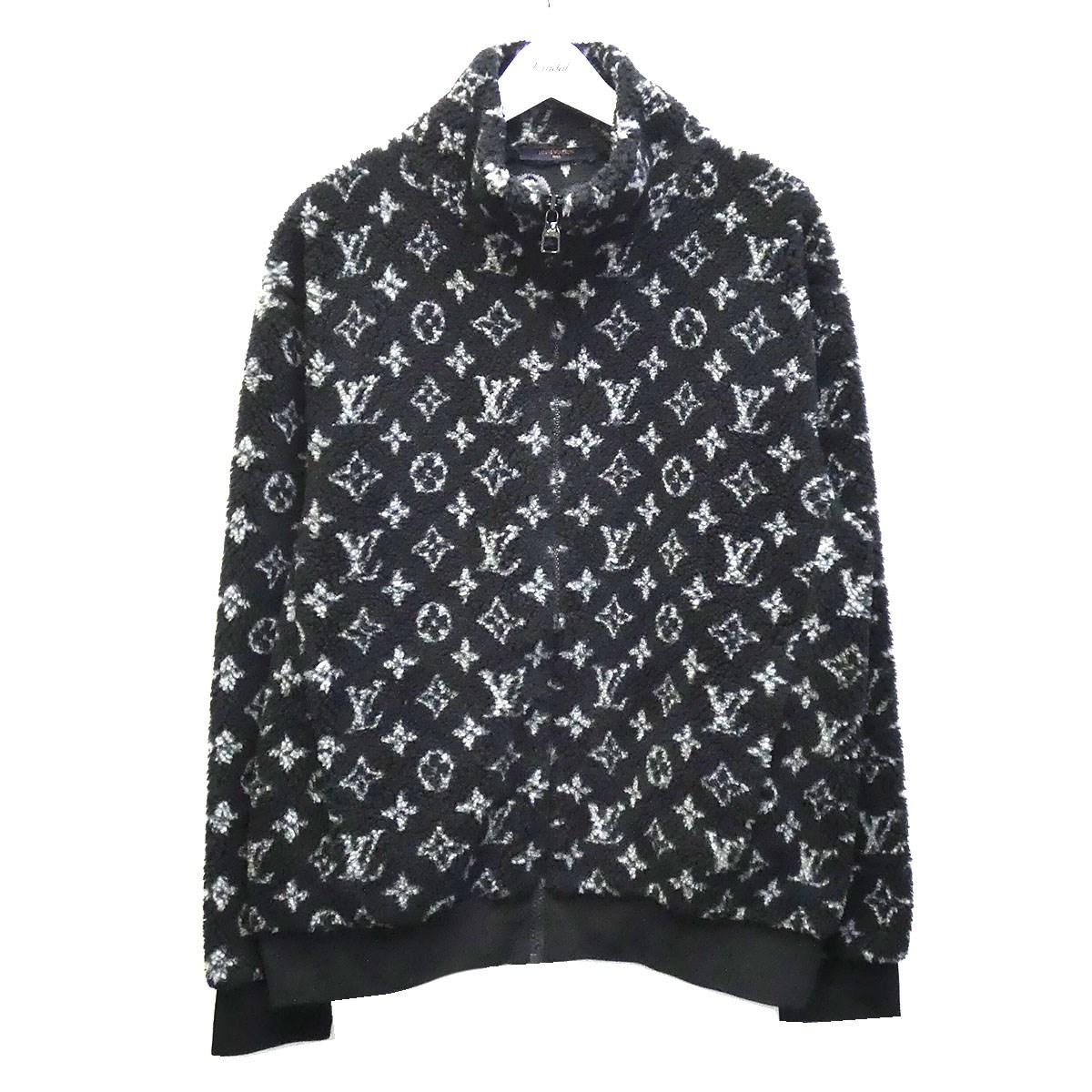 【中古】LOUIS VUITTON 20SS「Monogram Fleece Zipup Jacket」モノグラムフリースジャケット ブラック×グレー サイズ:L 【080720】(ルイヴィトン)