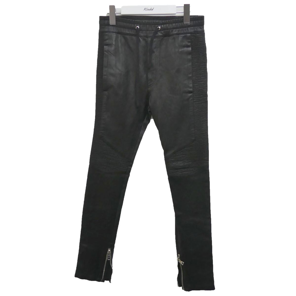 【中古】BALMAIN レザーバイカーパンツ ブラック サイズ:XS 【100720】(バルマン)
