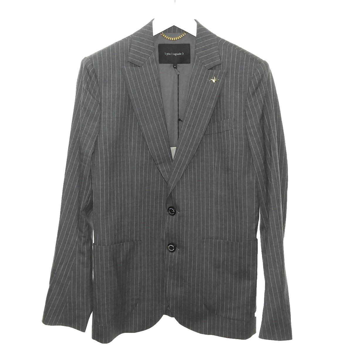 【中古】1piu1uguale3 ストライプウールテーラードジャケット グレー サイズ:4 【130720】(ウノピュウノウグァーレトレ)