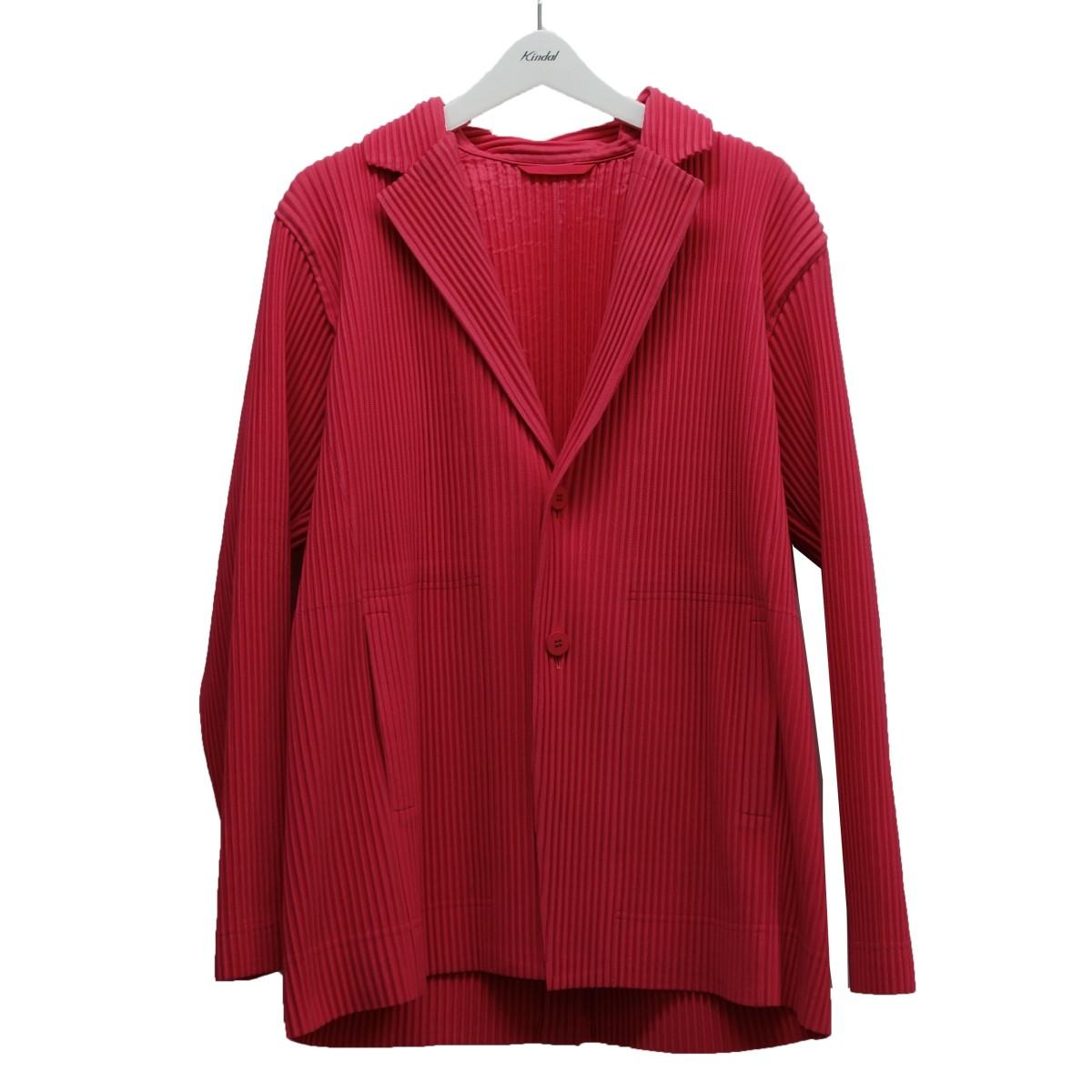 【中古】HOMME PLISSE ISSEY MIYAKE 20SS プリーツジャケット ピンク サイズ:3 【120720】(オム プリッセ イッセイ ミヤケ)