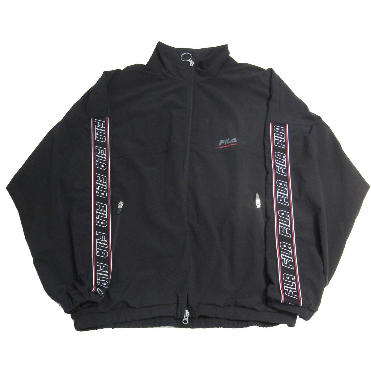 【中古】FILA×MONKEY TIME TRACK JACKET トラックジャケット ロゴラインナイロンジャケット ブラック サイズ:L 【140720】(フィラ×モンキータイム)