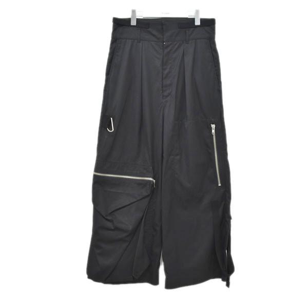 【中古】ALMOSTBLACK 17AW ワイドパンツ ブラック サイズ:2 【150720】(オールモストブラック)