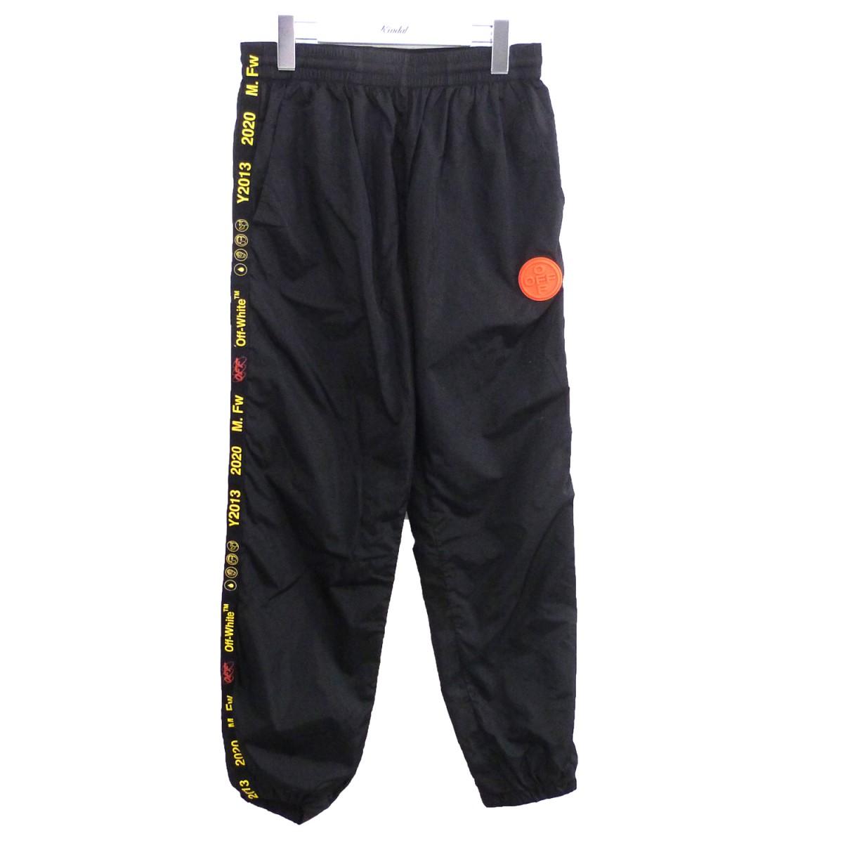 【中古】OFF WHITE 19AW「LOGO TRACK PANTS」ロゴトラックパンツ ブラック サイズ:L 【160720】(オフホワイト)