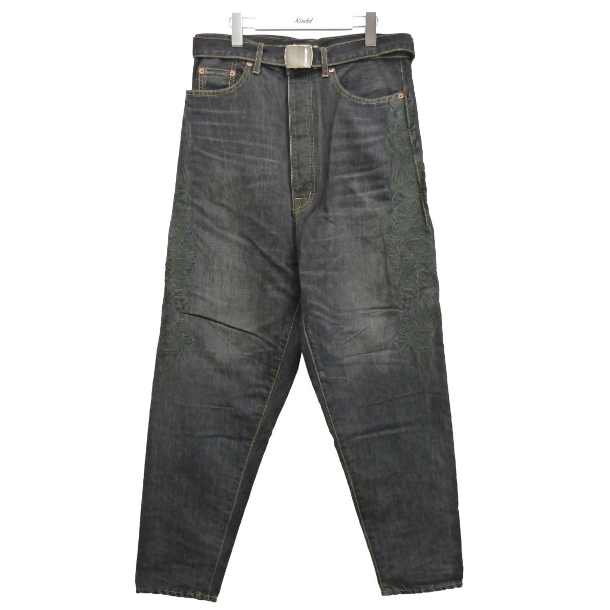 【中古】doublet 20SS「CHAOS EMBROIDERY HEMP DENIM PANTS」ベルト付デニムパンツ ブラック サイズ:S 【180720】(ダブレット)