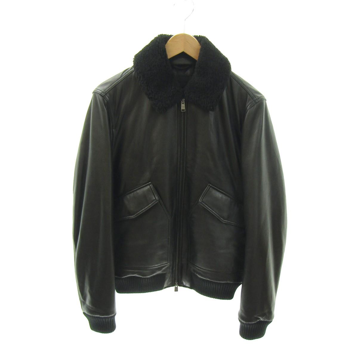 【中古】HUGO BOSS ボアレザージャケット ブラック サイズ:44 【180720】(ヒューゴボス)