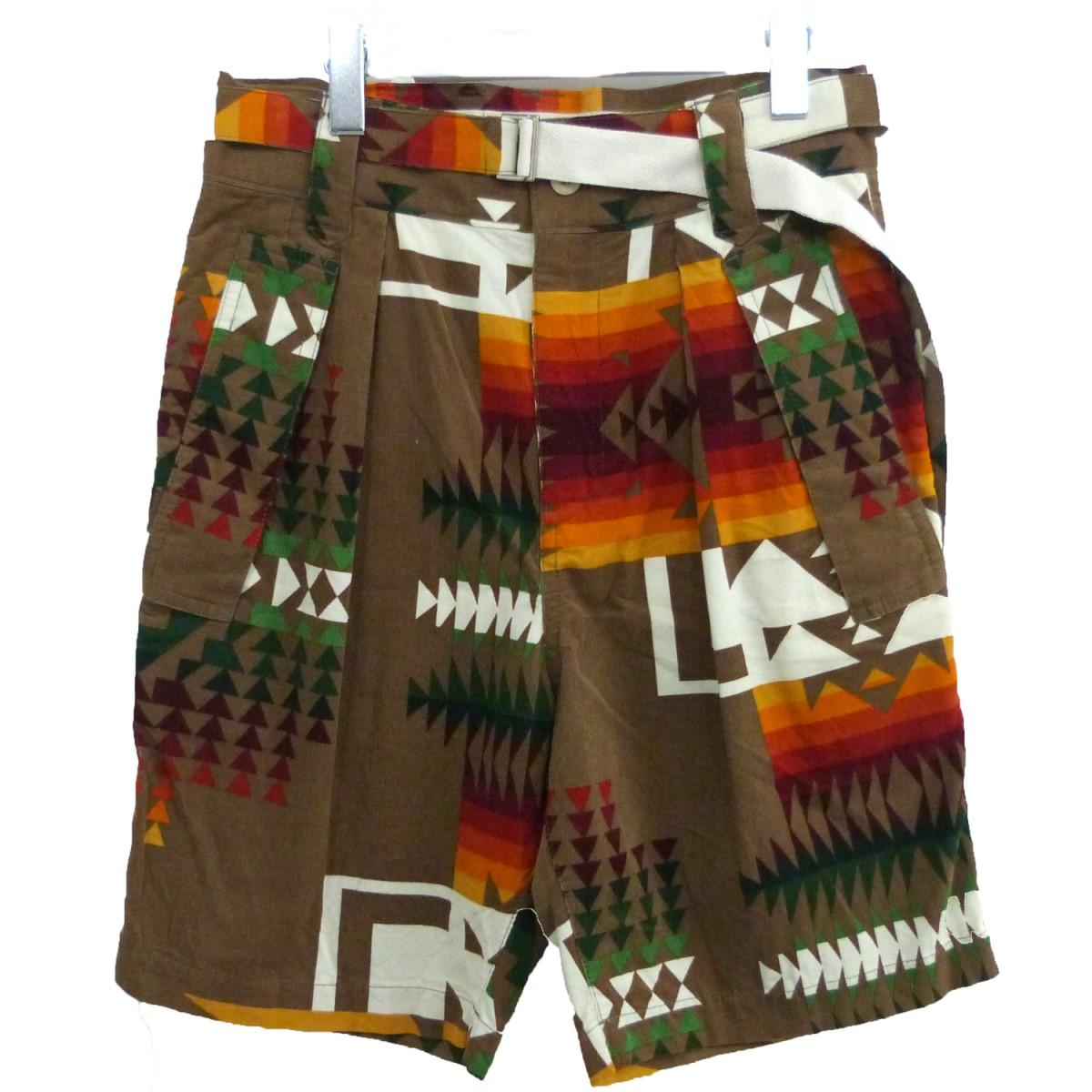 【中古】sacai×PENDLETON 「Print Shorts」ネイティブショーツ ハーフパンツ ブラウン サイズ:1 【200720】(サカイ ペンドルトン)