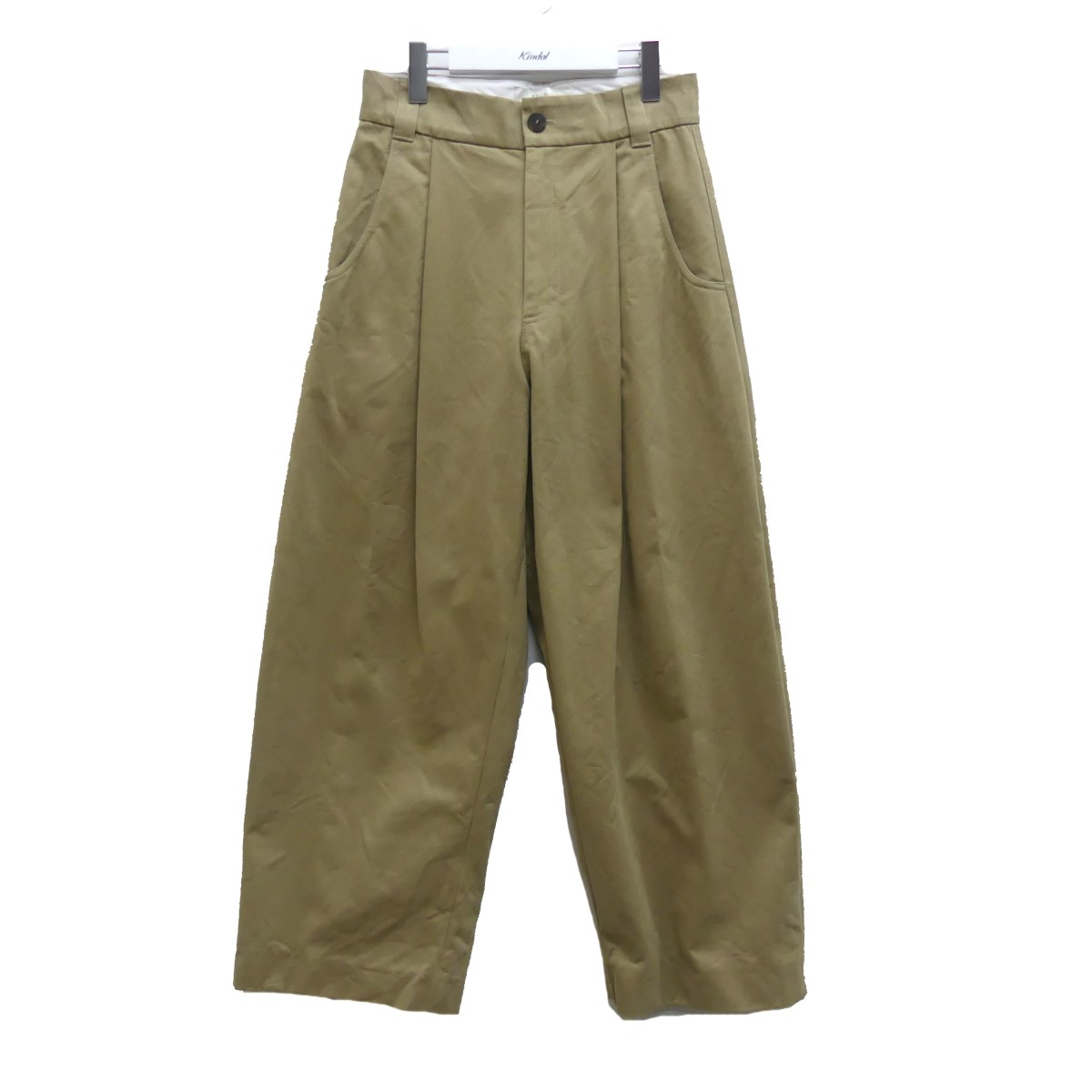 【中古】STUDIO NICHOLSON 20SS PEACHED COTTON TWILL PANTS-VOLUME PLEAT PANTS TAN サイズ:XS 【220720】(スタジオニコルソン)
