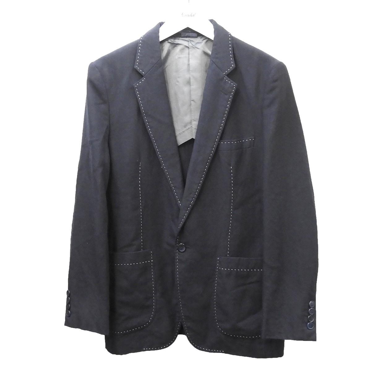 【中古】COMME des GARCONS HOMME DEUX 2013AW 染色加工ステッチデザインジャケット ネイビー サイズ:XS 【230720】(コムデギャルソンオムドゥ)