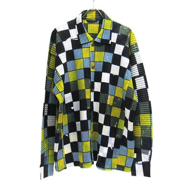 【中古】HOMME PLISSE ISSEY MIYAKE 2020SS パッチワークプリント メッシュプリーツ シャツジャケット マルチカラー サイズ:4 【220720】(オムプリッセ イッセイ ミヤケ)