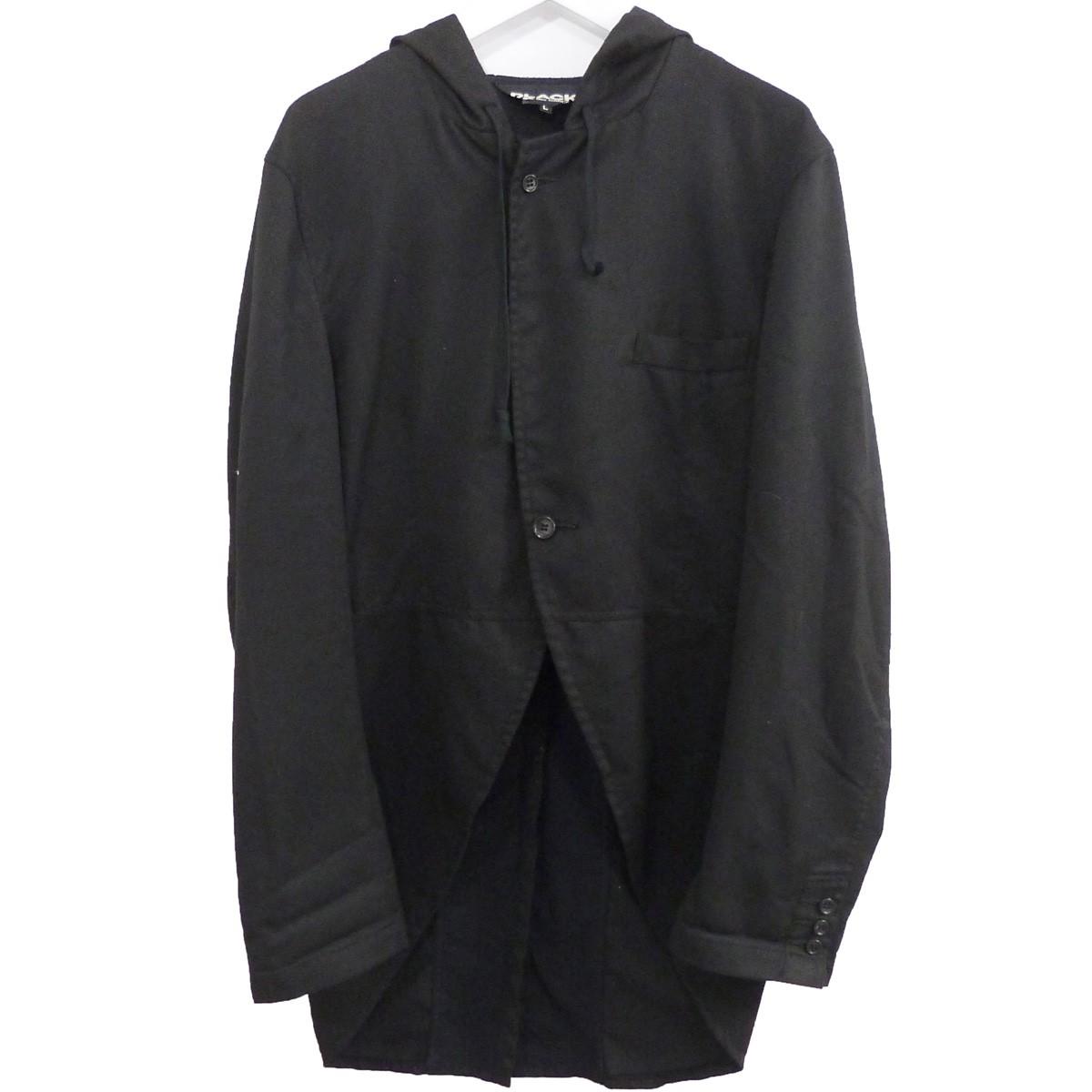 【中古】BLACK COMME des GARCONS 製品洗い加工燕尾フーデッドジャケット ブラック サイズ:L 【230720】(ブラックコムデギャルソン)