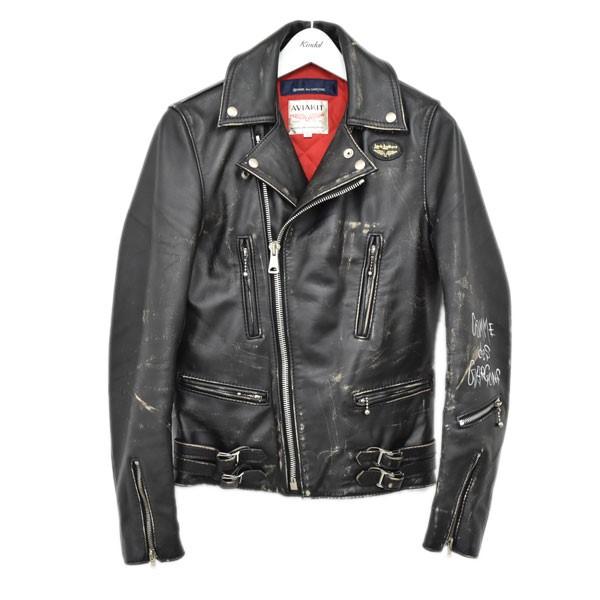 【中古】COMME des GARCONS × Lewis Leathers LIVE FREE DIE STRONG レザーライダースジャケット ブラック サイズ:32 【250720】(コムデギャルソン ルイスレザー)