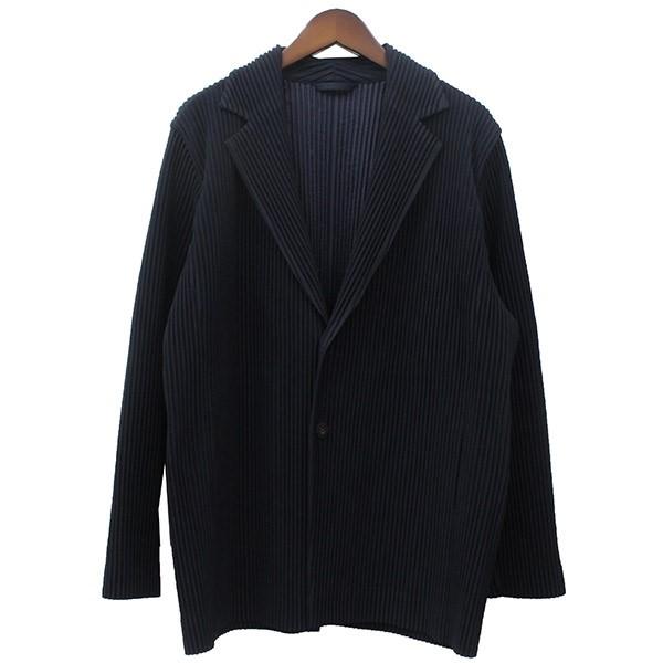 【中古】HOMME PLISSE ISSEY MIYAKE プリーツシングルジャケット ネイビー サイズ:3 【240720】(オムプリッセ イッセイミヤケ)