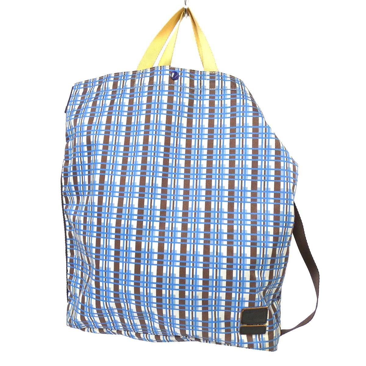 【中古】MARNI×PORTER チェックトートバッグ ブルー 【290720】(マルニ×ポーター)