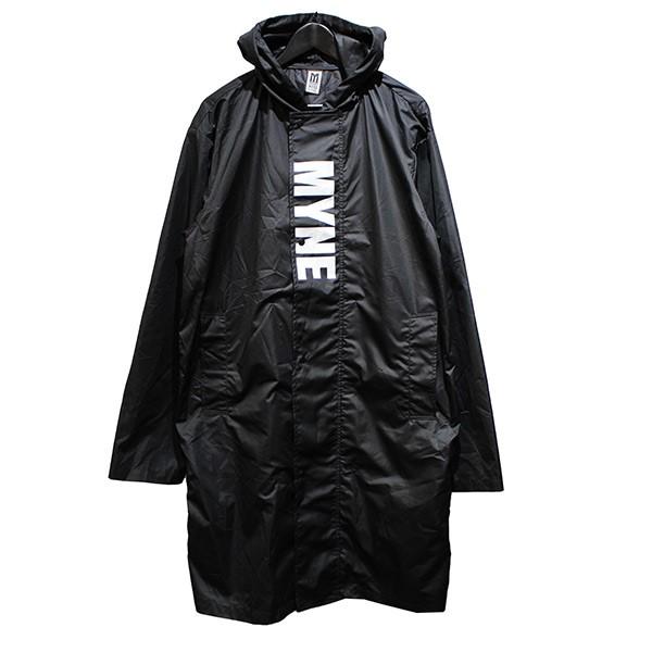 【中古】MYNE 18SS WALK THIS WAY RAIN COAT ロゴ レインコート コート ブラック サイズ:S 【290720】(マイン)