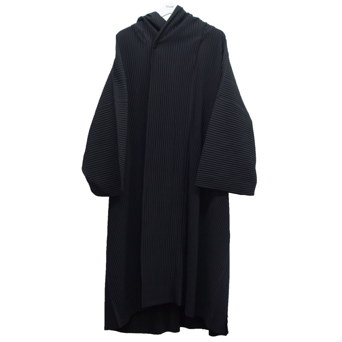 【中古】HOMME PLISSE ISSEY MIYAKE 19AW プリーツフーデッドコート ブラック サイズ:3 【310720】(オム プリッセ イッセイ ミヤケ)