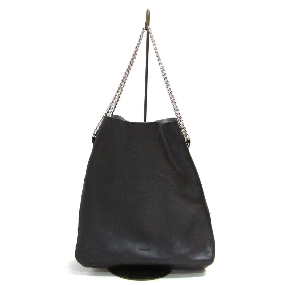 【中古】JIL SANDER 2020SS Chain-Link Leather Shopper Bag レザーショッパーバッグ ブラック 【010820】(ジルサンダー)