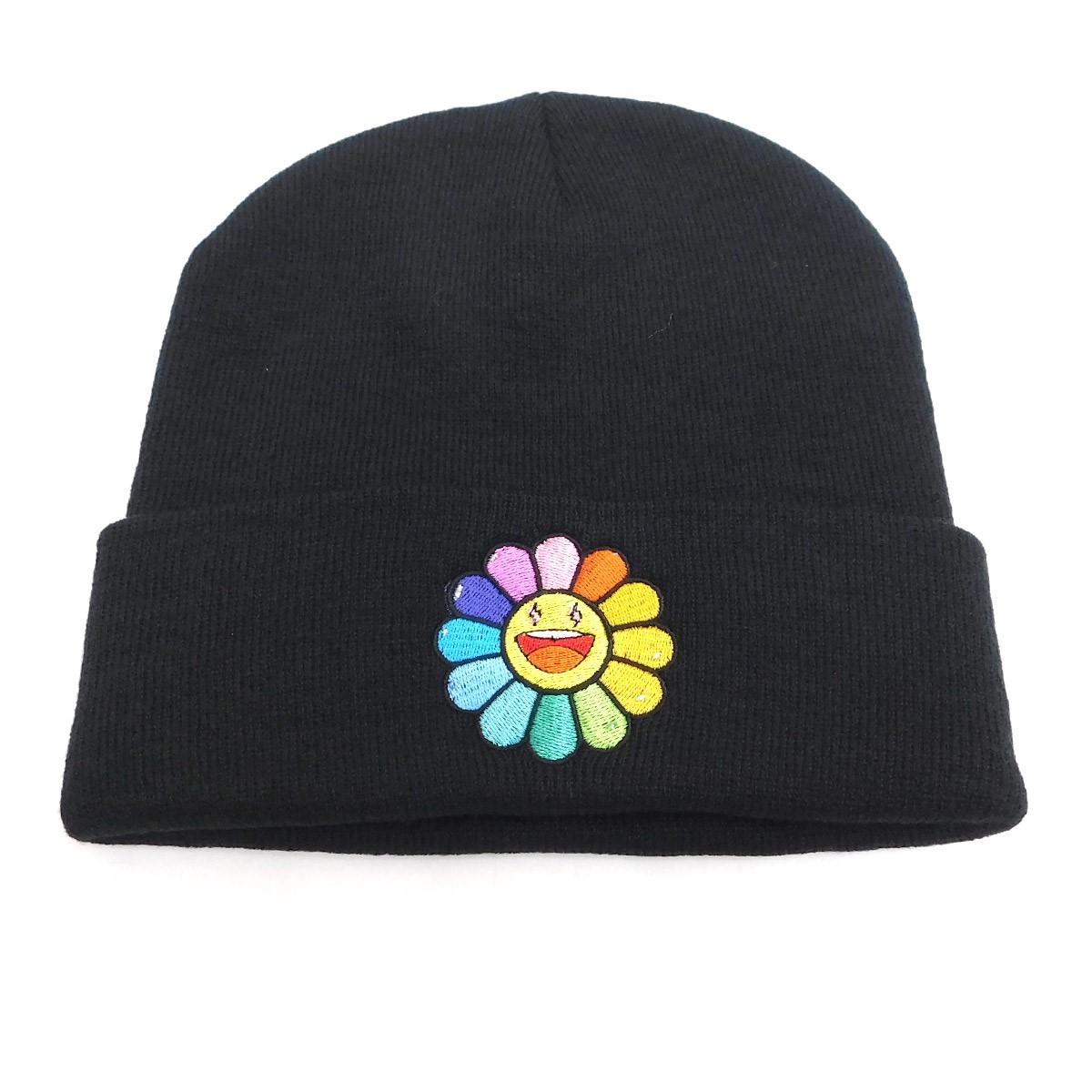 【中古】J.Balvin×Takashi Murakami 2020SS Rainbow Flower Beanie ビーニー ブラック サイズ:F 【040820】(J.バルヴィン 村上隆)