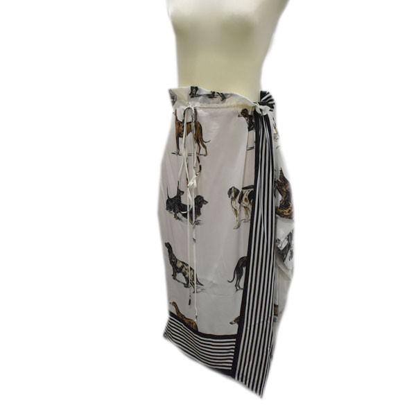 【中古】STELLA McCARTNEY 17SS 総柄 シルクスカート ホワイト サイズ:38 【080820】(ステラマッカートニー)