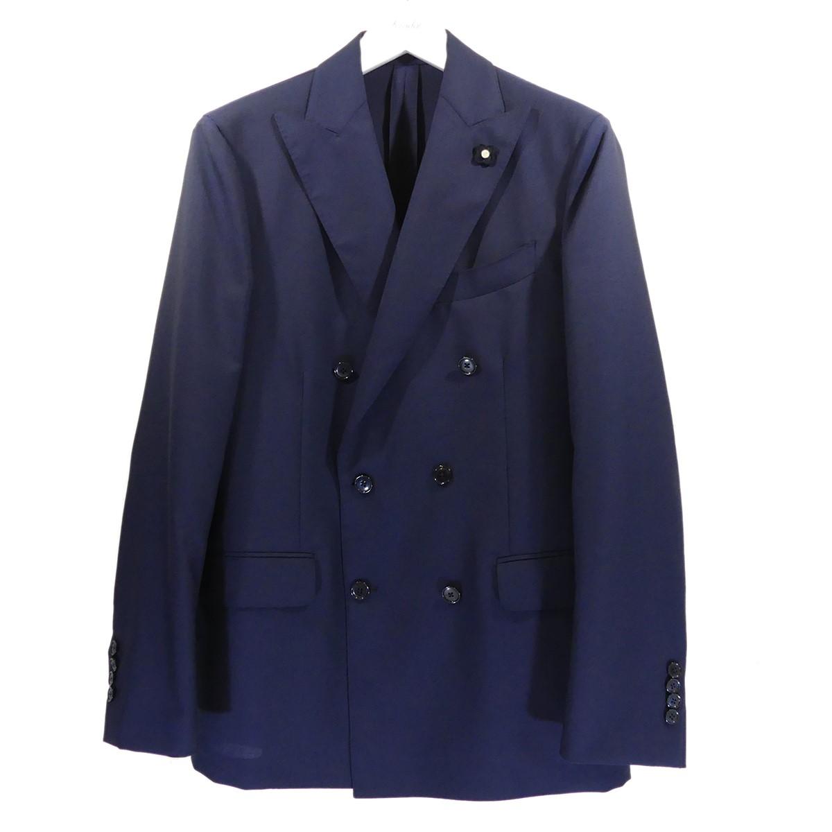 【中古】LARDINI トロピカルウール ダブルスーツ ネイビー サイズ:48 【090820】(ラルディーニ)
