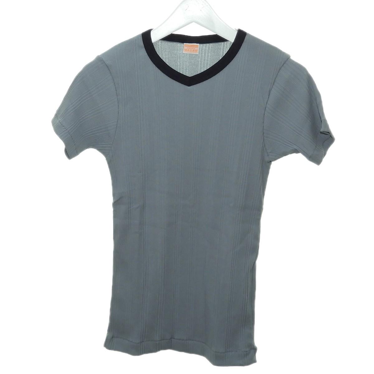 【中古】MAISON EUREKA 2020SS「RANDOM RIB V NECK TEE」ランダムリブVネックTシャツ ブルーグレー サイズ:Free 【110820】(メゾンエウレカ)