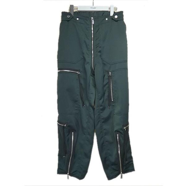 【中古】TAAKK 2020SS「SATIN ZIP TROUSER」ジップ装飾パンツ グリーン サイズ:1 【100820】(ターク)
