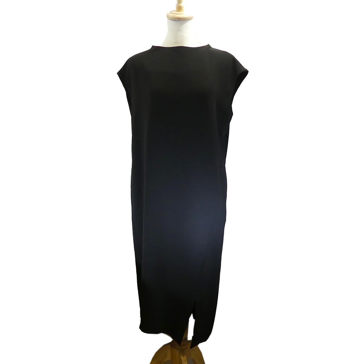 【中古】ENFOLD ジョーゼットフレンチスタンドドレス ノースリーブワンピース ブラック サイズ:38 【110820】(エンフォルド)