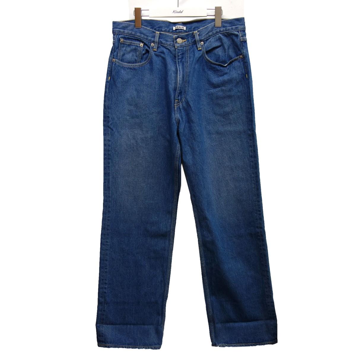 【中古】AURALEE 20SS「WASHED HARD TWIST DENIM 5P PANTS」デニムパンツ ライトインディゴ サイズ:34 【120820】(オーラリー)