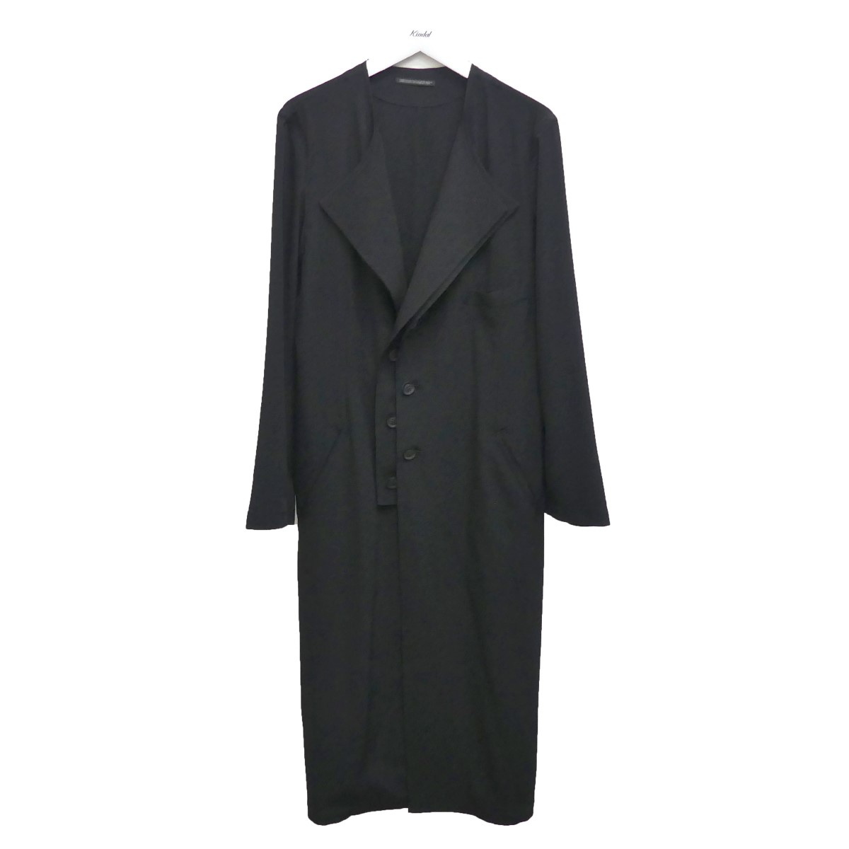 【中古】YOHJI YAMAMOTO pour homme 20SS ノーカラーロングジャケット ブラック サイズ:3 【130820】(ヨウジヤマモトプールオム)