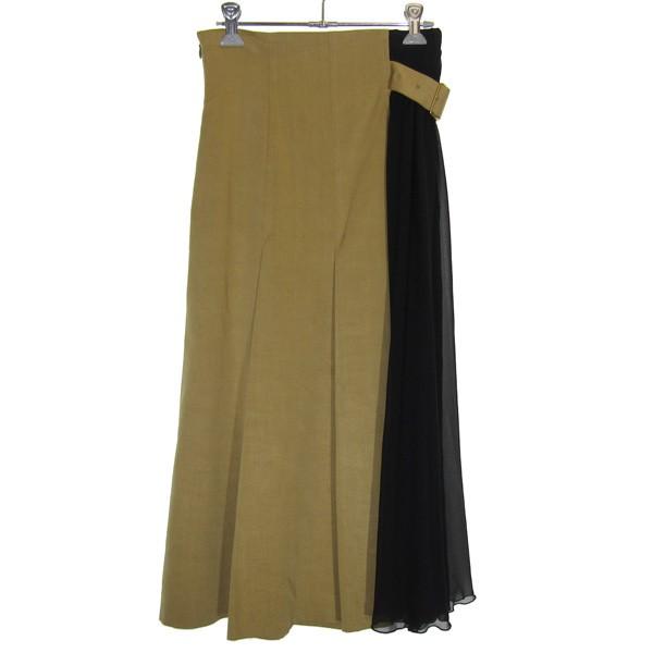 【中古】UNDER COVER 19SS 配色切替ロングプリーツスカート キャメル サイズ:1 【140820】(アンダーカバー)