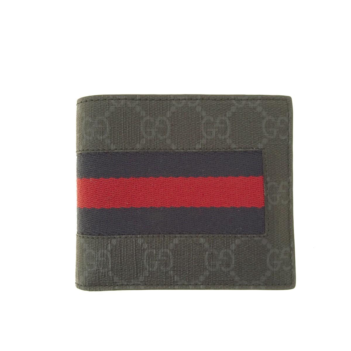 【中古】GUCCI GGスプリーム ニューウェブ 二つ折り財布 408826 ブラック サイズ:- 【150820】(グッチ)
