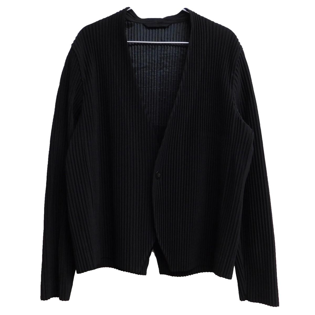 【中古】HOMME PLISSE ISSEY MIYAKE 2018SS ノーカラー1Bプリーツジャケット ブラック サイズ:3 【160820】(オム プリッセ イッセイミヤケ)