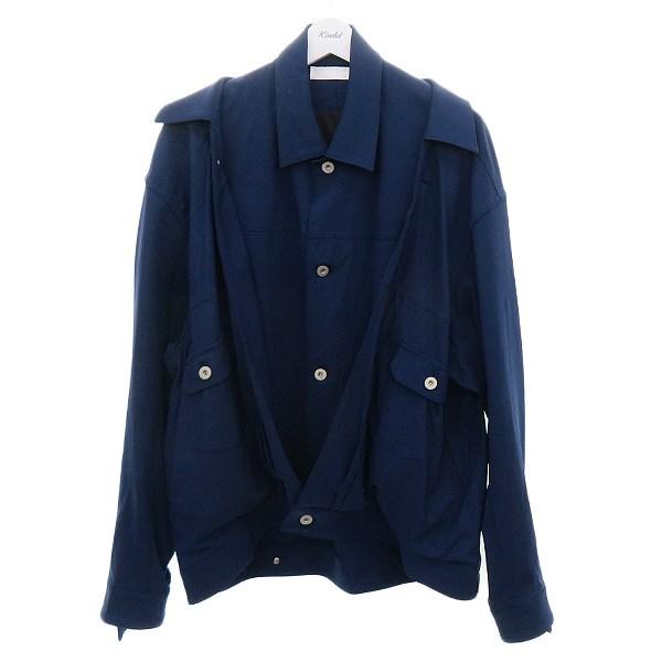 【中古】ETHOSENS フェイクレイヤードウールジャケット ネイビー サイズ:2 【180820】(エトセンス)