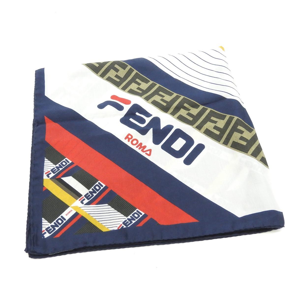 【中古】FENDI×FILA スカーフ ネイビー×レッド 【190820】(フェンディ フィラ)