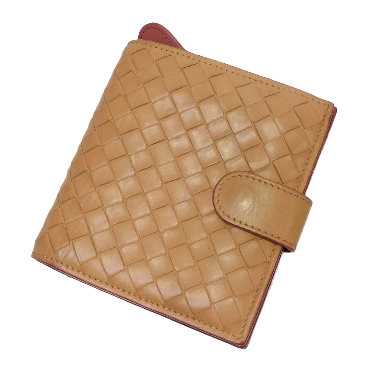 【中古】BOTTEGA VENETA 二つ折り財布 ベージュ×ピンク 【190820】(ボッテガヴェネタ)