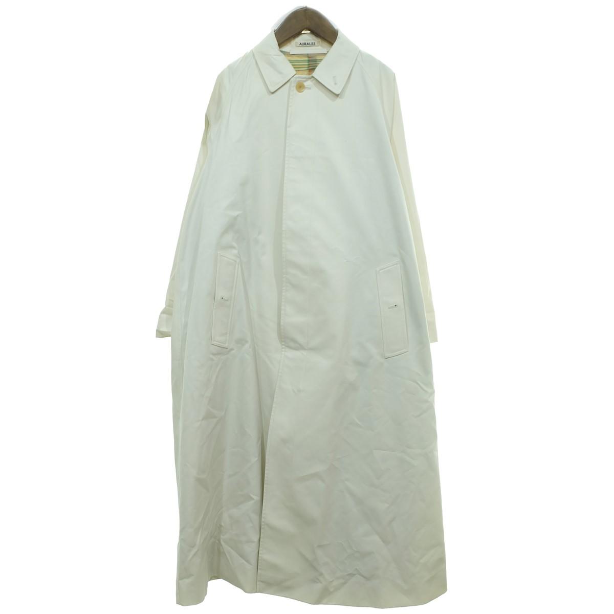 【中古】AURALEE 【2019S/S】 コットンシルクギャバジン ステンカラーコート ホワイト サイズ:0 【200820】(オーラリー)
