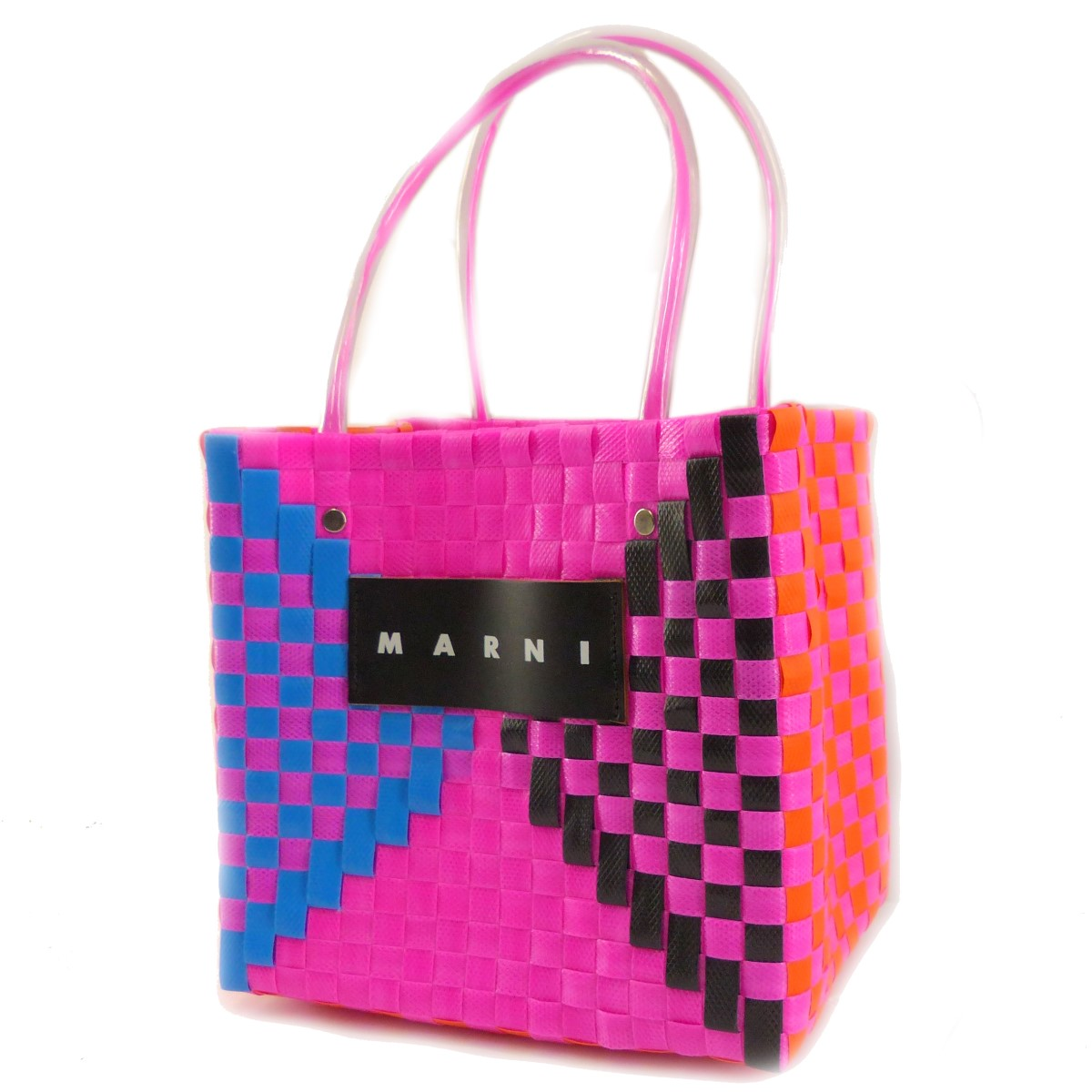 【中古】MARNI MARKET ウーブンハンドバッグ ピンク 【230820】(マルニマーケット)
