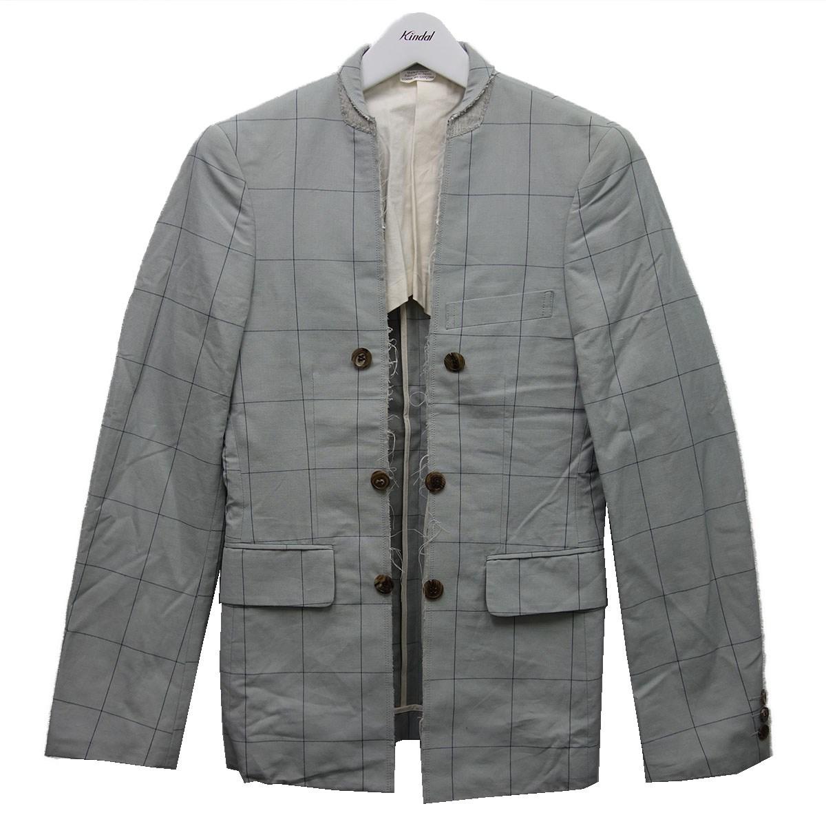 【中古】COMME des GARCONS HOMME PLUS 16SS カットオフチェックジャケット グレー サイズ:XL 【250820】(コムデギャルソンオムプリュス)
