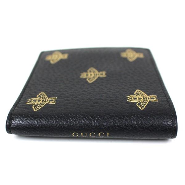 【中古】GUCCI 495053 ビー&スター 二つ折り財布 レザー ウォレット ブラック、ゴールド サイズ:- 【250820】(グッチ)