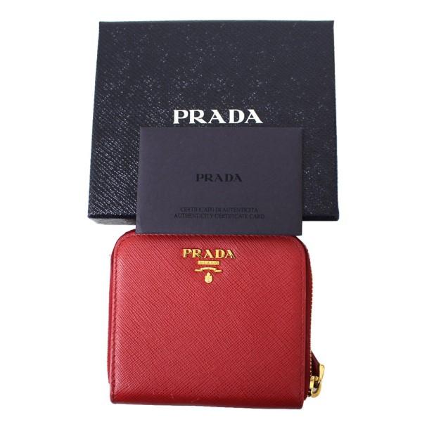 【中古】PRADA 1ML522 SAFFIANO METAL サフィアーノ 財布 レザー ウォレット レッド サイズ:- 【250820】(プラダ)