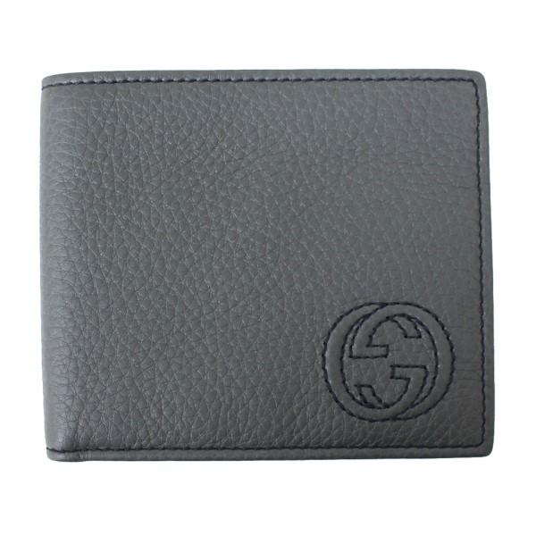 【中古】GUCCI GG ステッチロゴ 二つ折り財布 322114 グレー サイズ:- 【250820】(グッチ)