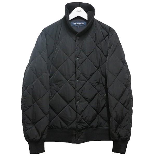 【中古】COMME des GARCONS HOMME キルティングダウンジャケット AD2018 ブラック サイズ:L 【250820】(コムデギャルソンオム)
