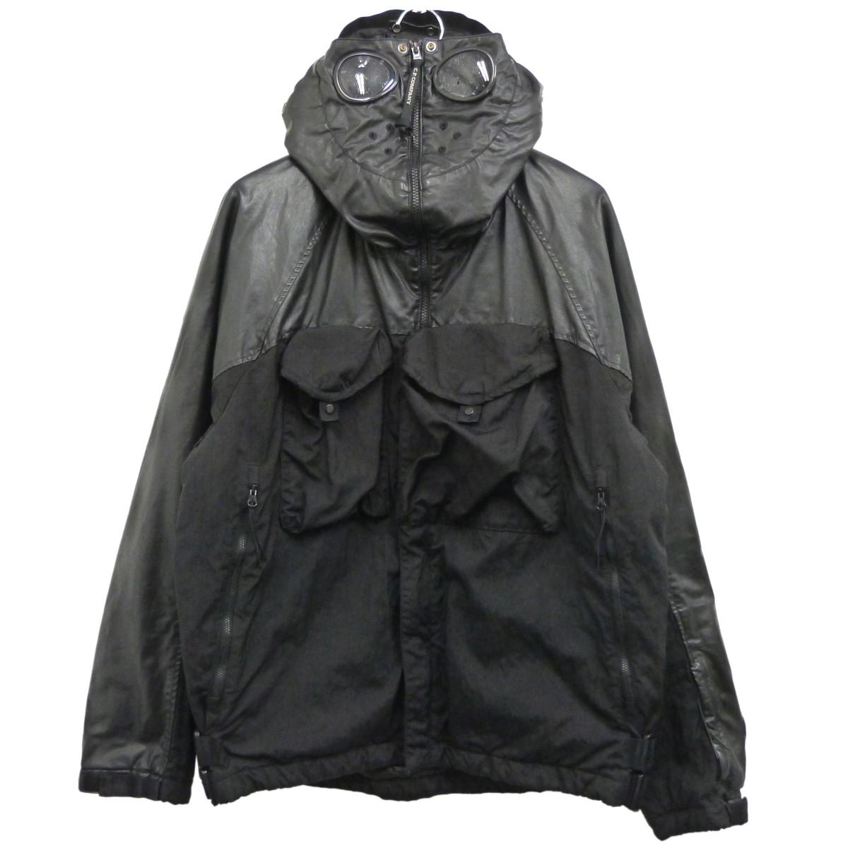 【中古】c.p.company レザー切替ゴーグルジャケット ブラック サイズ:52 【290820】(シーピーカンパニー)