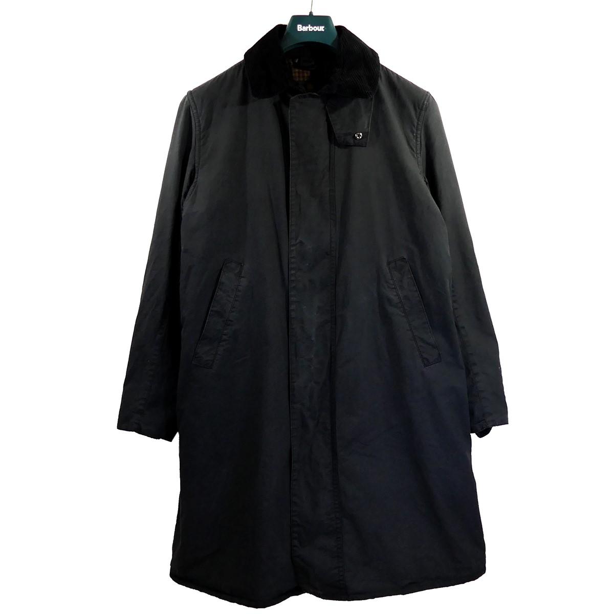 【中古】Barbour 2019AW スタイリスト私物×AURALEE BORDER コート ブラック サイズ:38 【300820】(バブアー)
