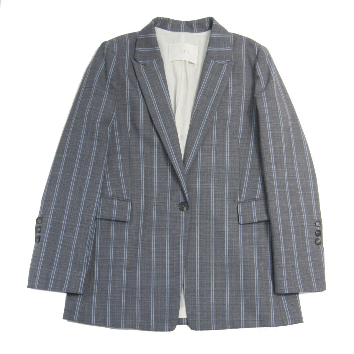 【中古】TELAウール混ストライプチェックテーラードジャケット グレー サイズ:44 【8月31日見直し】