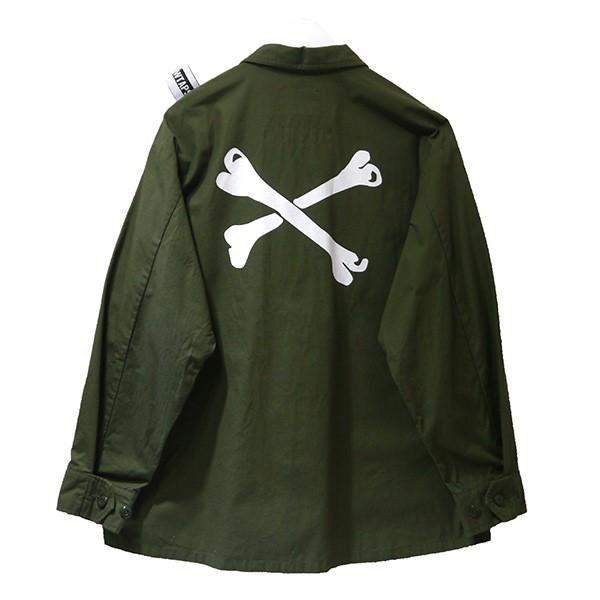 【中古】WTAPS×NEIGHBORHOOD 2020年初売り JUNGLE LS シャツジャケット クロスボーン 192WVNHD-SHM02S オリーブ サイズ:X02 【290820】(ダブルタップス ネイバーフッド)