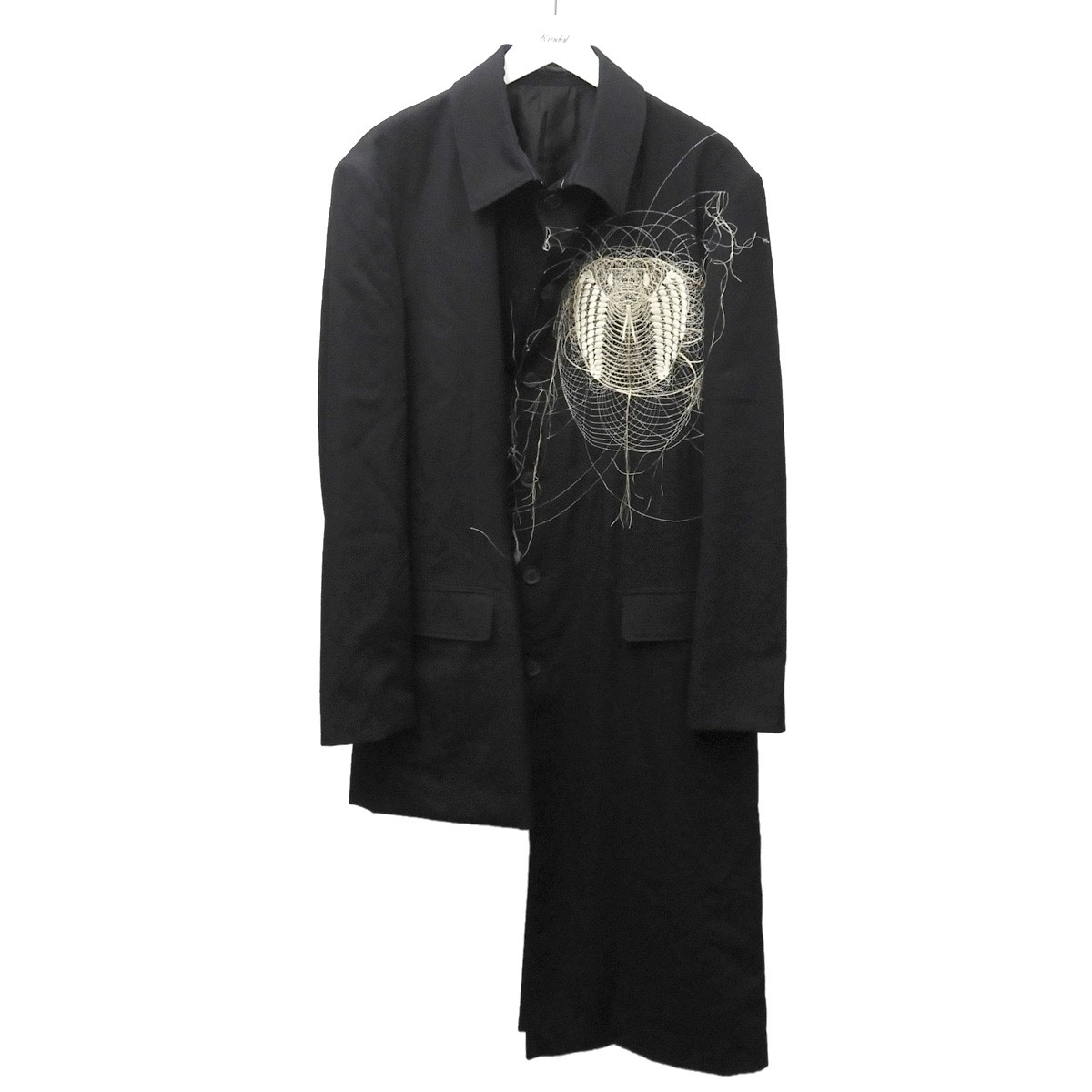 【中古】YOHJI YAMAMOTO pour homme 2019AW コブラ刺繍チャイナジャケット ブラック サイズ:3 【310820】(ヨウジヤマモトプールオム)